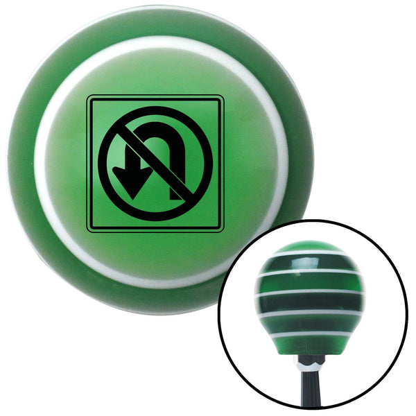 Black No UTurn Green Stripe Shift Knob with M16 x 15 Insert - American Shifter - Dropship Direct Wholesale