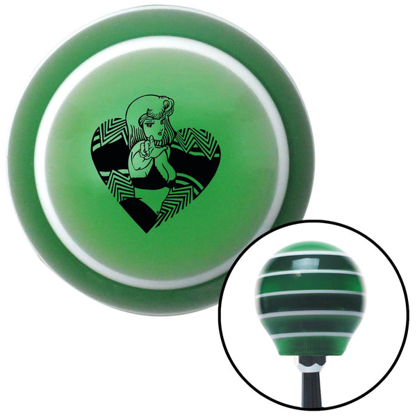 Black Anime Girl in Heart Green Stripe Shift Knob with M16 x 15 Insert - American Shifter - Dropship Direct Wholesale