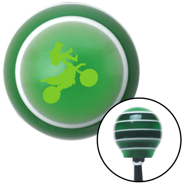 Green Motocross Rider Green Stripe Shift Knob with M16 x 15 Insert - American Shifter - Dropship Direct Wholesale