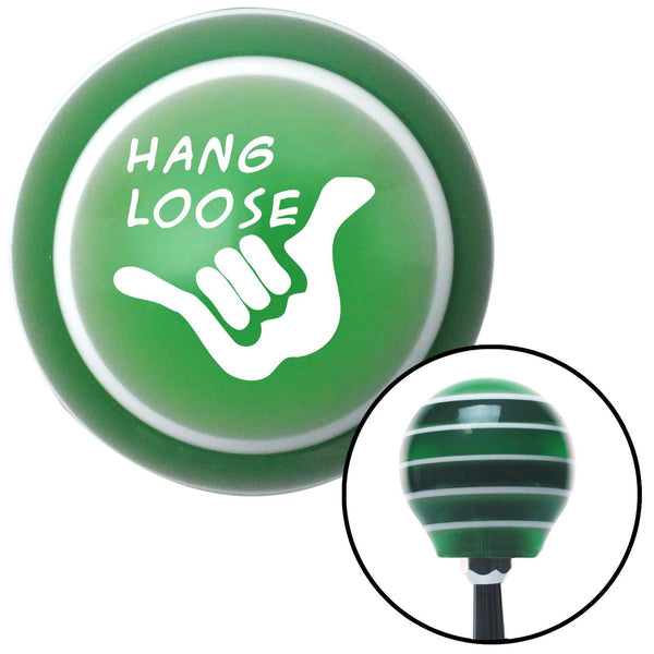 White Hang Loose Green Stripe Shift Knob with M16 x 15 Insert - American Shifter - Dropship Direct Wholesale