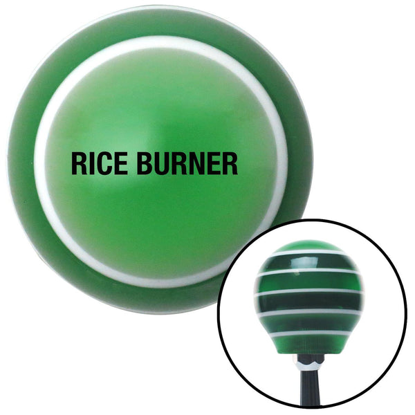 Black Rice Burner Green Stripe Shift Knob with M16 x 15 Insert - American Shifter - Dropship Direct Wholesale