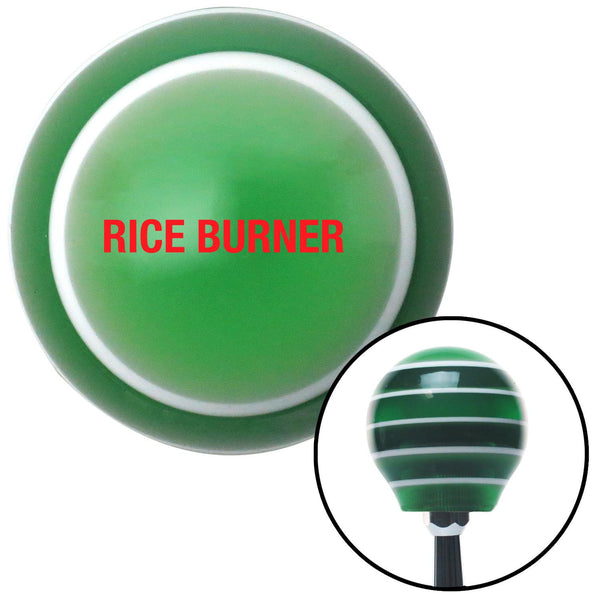 Red Rice Burner Green Stripe Shift Knob with M16 x 15 Insert - American Shifter - Dropship Direct Wholesale