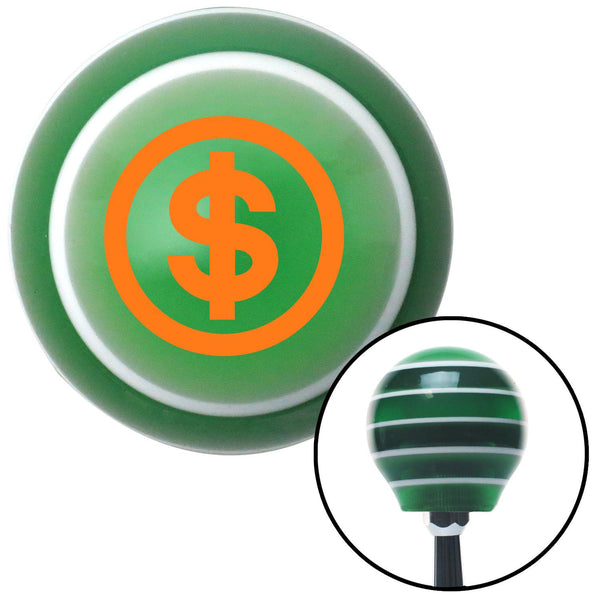 Orange Money Green Stripe Shift Knob with M16 x 15 Insert - American Shifter - Dropship Direct Wholesale