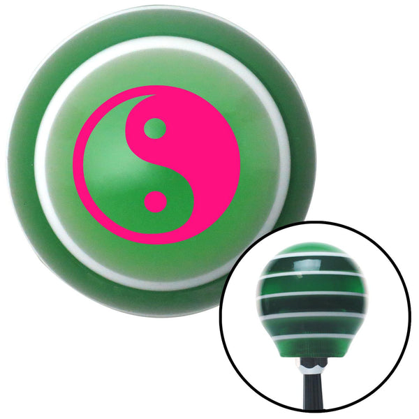 Pink Yin  Yang Green Stripe Shift Knob with M16 x 15 Insert - American Shifter - Dropship Direct Wholesale
