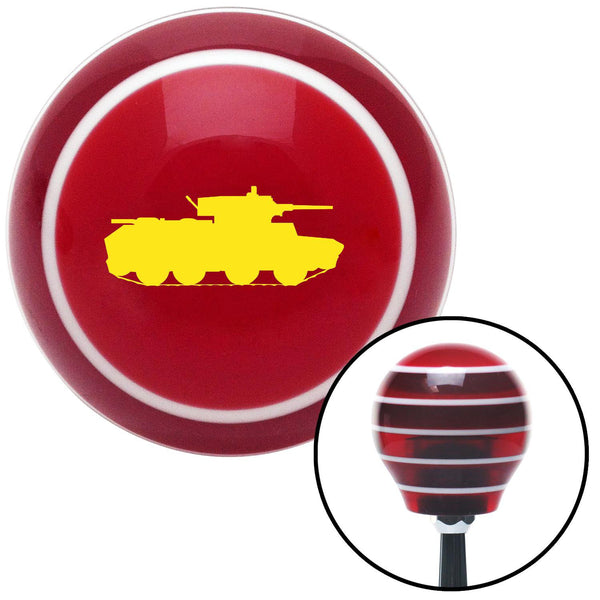 Yellow Military Tank Red Stripe Shift Knob with M16 x 15 Insert - American Shifter - Dropship Direct Wholesale