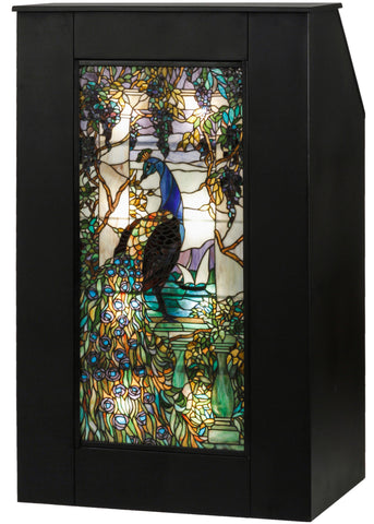 52 Inch H Tiffany Peacock Wisteria Lighted Podium - Meyda - Dropship Direct Wholesale