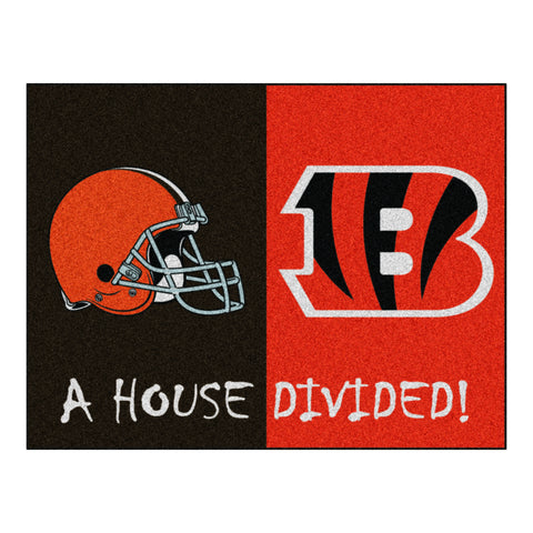 Cincinnati Bengals - Cleveland Browns NFL House Divided Rugs 33.75x42.5 - FANMATS - Dropship Direct Wholesale