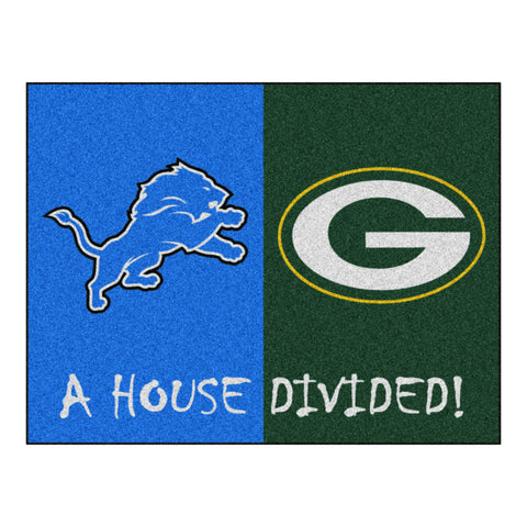 Detroit Lions - Green Bay Packers NFL House Divided Rugs 33.75x42.5 - FANMATS - Dropship Direct Wholesale