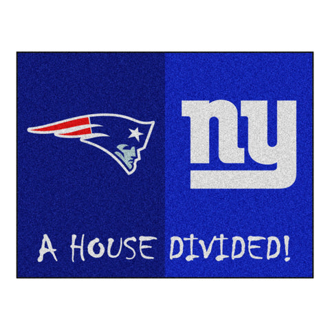 New England Patriots - New York Giants NFL House Divided Rugs 33.75x42.5 - FANMATS - Dropship Direct Wholesale