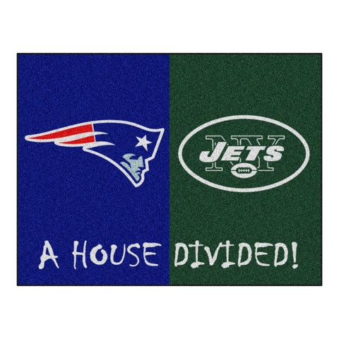 New England Patriots - New York Jets NFL House Divided Rugs 33.75x42.5 - FANMATS - Dropship Direct Wholesale