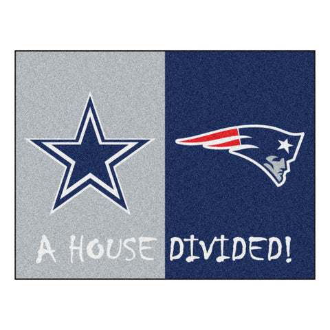Dallas Cowboys - New England Patriots NFL House Divided Rugs 33.75x42.5 - FANMATS - Dropship Direct Wholesale
