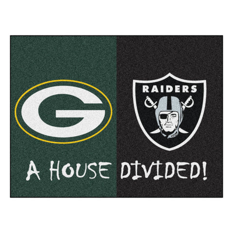 Green Bay Packers - Oakland Raiders NFL House Divided Rugs 33.75x42.5 - FANMATS - Dropship Direct Wholesale