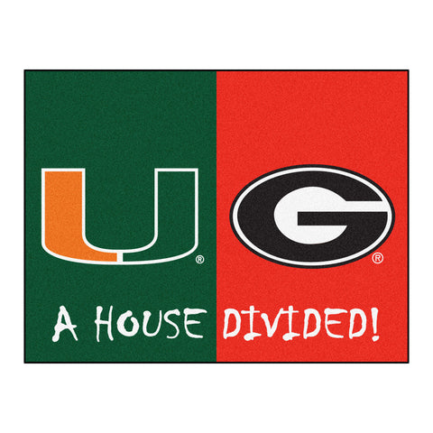 Miami Hurricanes - Georgia Bulldogs NCAA House Divided Rugs 33.75x42.5 - FANMATS - Dropship Direct Wholesale