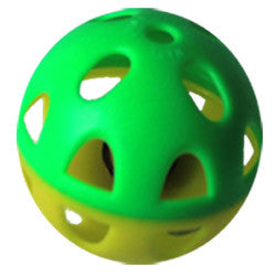 Iconic Pet - Two-Tone Plastic Ball With Bell - 1 Pack - Yellow/Green Pattern - Iconic Pet - Dropship Direct Wholesale