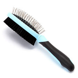 Iconic Pet Double Sided Brush (Bristle & Hard Pin) - Blue - Iconic Pet - Dropship Direct Wholesale