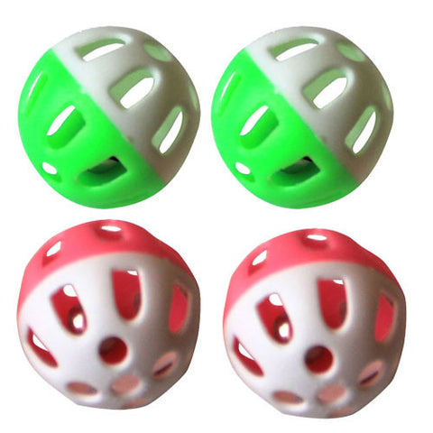 Iconic Pet - Two-Tone Plastic Ball With Bell - 4 Pack - Assorted - Iconic Pet - Dropship Direct Wholesale