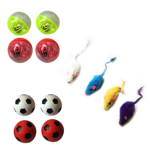 Iconic Pet - Fur Mice Plastic Ball & Bouncing Ball - Set of 3 - Iconic Pet - Dropship Direct Wholesale