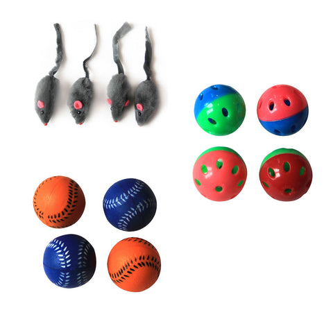 Iconic Pet - Fur Mice Plastic Ball & Bouncing Softball - Set of 3 - Iconic Pet - Dropship Direct Wholesale