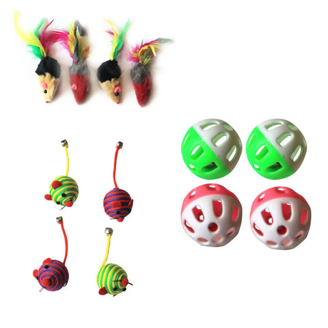 Iconic Pet - Fur Mice Nylon Rope Ball & Plastic Ball - Set of 3 - Iconic Pet - Dropship Direct Wholesale