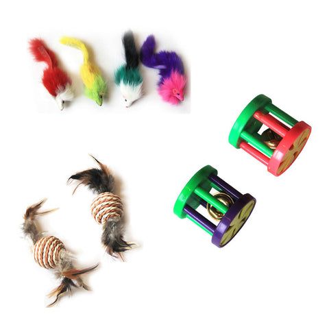 Iconic Pet - Fur Mice Paper Rope Ball & Plastic Roller - Set of 3 - Iconic Pet - Dropship Direct Wholesale