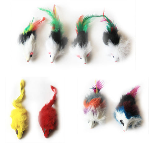 Iconic Pet - Long Hair Fur Mice - 8 Pieces - Assorted - Iconic Pet - Dropship Direct Wholesale