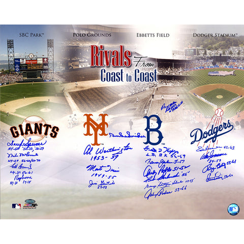 Dodgers-Giants Rivalry Multi-Signed 16x20 Photo (19 Signatures) Snider Irvin Podres Zimmer - Steiner Sports - Dropship Direct Wholesale