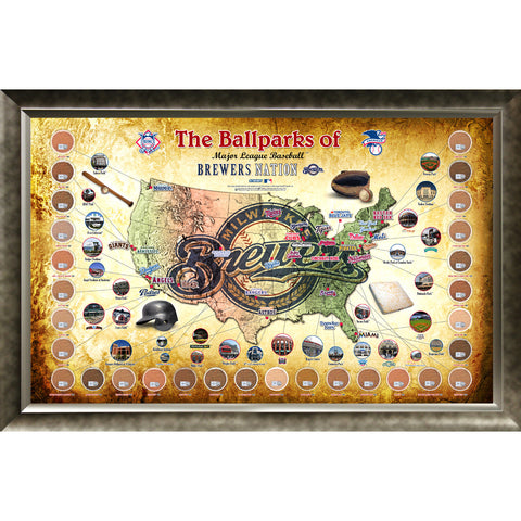 Major League Baseball Parks Map 20x32 Framed Collage w Game Used Dirt From 30 Parks - Brewers Version - Steiner Sports - Dropship Direct Wholesale