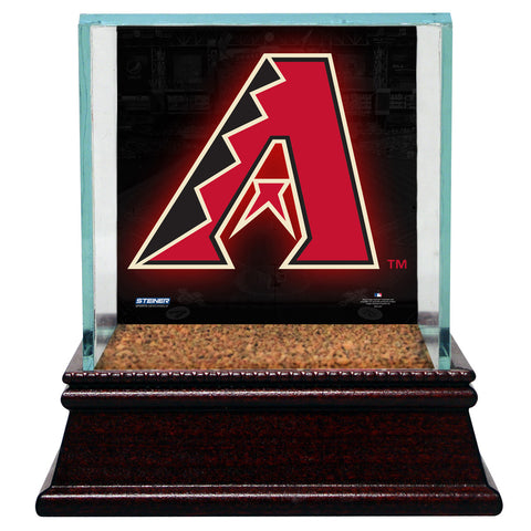 Arizona Diamondbacks Glass Single Baseball Case with Team Logo Background and Authentic Field Dirt Base (MLB Auth) - Steiner Sports - Dropship Direct Wholesale