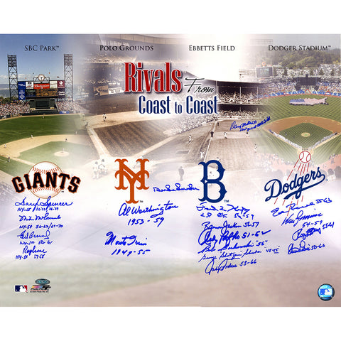 Dodgers-Giants Rivalry Multi-Signed 16x20 Photo (18 Signatures) Snider Irvin Podres Zimmer - Steiner Sports - Dropship Direct Wholesale