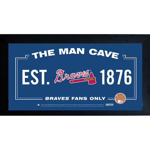 Atlanta Braves Man Cave Framed 10x20 Sign w Authentic Game-Used Dirt (MLB Auth) - Steiner Sports - Dropship Direct Wholesale