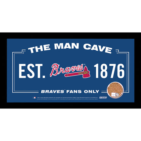 Atlanta Braves Man Cave Sign 6x12 Framed Photo With Authentic Game-Used Dirt (MLB Authenticated) - Steiner Sports - Dropship Direct Wholesale