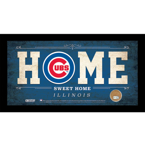 Chicago Cubs 6x12 Home Sweet Home Sign with Game-Used Dirt from Chicago Cubs - Steiner Sports - Dropship Direct Wholesale