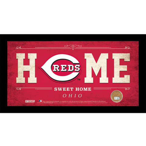 Cincinnati Reds 6x12 Home Sweet Home Sign with Game-Used Dirt from Great American Ball Park - Steiner Sports - Dropship Direct Wholesale