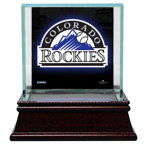 Colorado Rockies Glass Single Baseball Case with Team Logo Background - Steiner Sports - Dropship Direct Wholesale