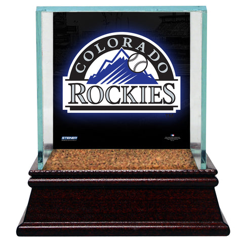 Colorado Rockies Glass Single Baseball Case with Team Logo Background and Authentic Field Dirt Base (MLB Auth) - Steiner Sports - Dropship Direct Wholesale