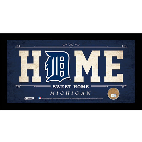 Detroit Tigers 6x12 Home Sweet Home Sign with Game-Used Dirt from Comerica Park - Steiner Sports - Dropship Direct Wholesale