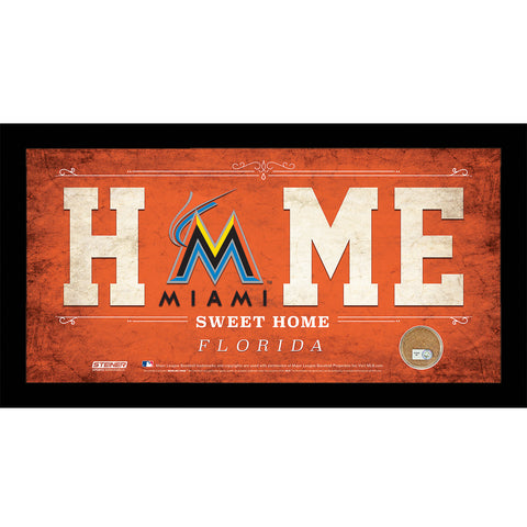 Miami Marlins 6x12 Home Sweet Home Sign w Game Used Dirt from Marlins Park - Steiner Sports - Dropship Direct Wholesale