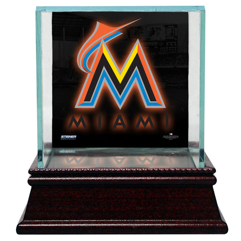 Miami Marlins Glass Single Baseball Case with Team Logo Background - Steiner Sports - Dropship Direct Wholesale