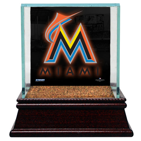 Miami Marlins Glass Single Baseball Case with Team Logo Background and Authentic Field Dirt Base (MLB Auth) - Steiner Sports - Dropship Direct Wholesale