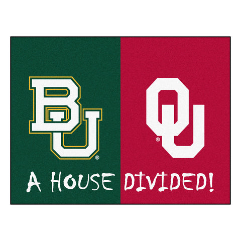 Baylor - Oklahoma NCAA House Divided Rugs 33.75x42.5 - FANMATS - Dropship Direct Wholesale