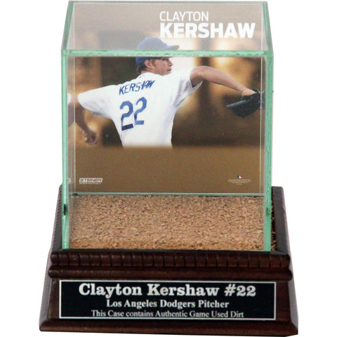 Clayton Kershaw Throwing Background Glass Single Baseball w Dodger Stadium Authentic Dirt & Nameplate - Steiner Sports - Dropship Direct Wholesale