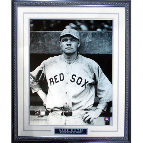 Babe Ruth Pose in Red Sox Uniform Framed 16x20 Photo - Steiner Sports - Dropship Direct Wholesale