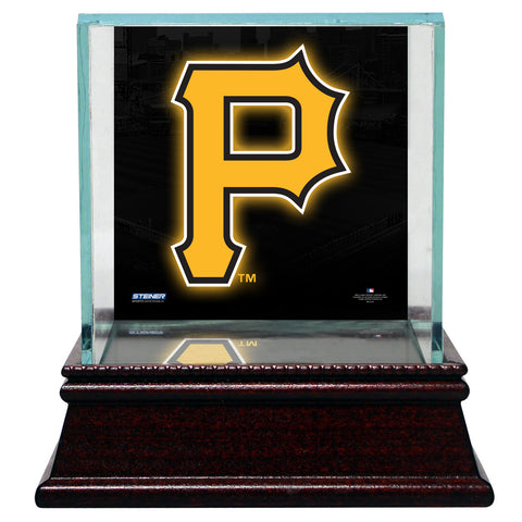 Pittsburgh Pirates Glass Single Baseball Case with Team Logo Background - Steiner Sports - Dropship Direct Wholesale