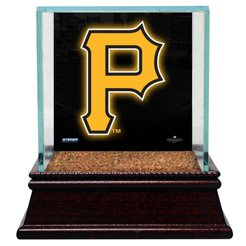 Pittsburgh Pirates Glass Single Baseball Case with Team Logo Background and Authentic Field Dirt Base (MLB Auth) - Steiner Sports - Dropship Direct Wholesale