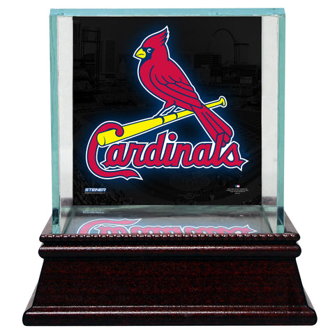 St. Louis Cardinals Glass Single Baseball Case with Team Logo Background - Steiner Sports - Dropship Direct Wholesale