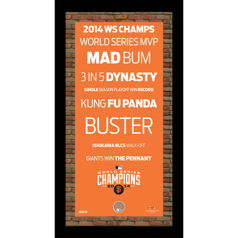San Francisco Giants 2014 World Series 16x32 Subway Sign w Authentic Dirt - Steiner Sports - Dropship Direct Wholesale