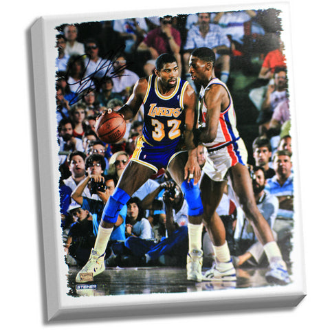 Dennis Rodman Defending Magic johnson Signed 20x24 Canvas signed in black - Steiner Sports - Dropship Direct Wholesale