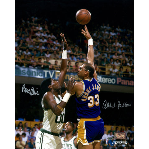 Kareem Abdul-Jabbar Hook Shot over Robert Parish Dual Signed 16x20 Photo - Steiner Sports - Dropship Direct Wholesale