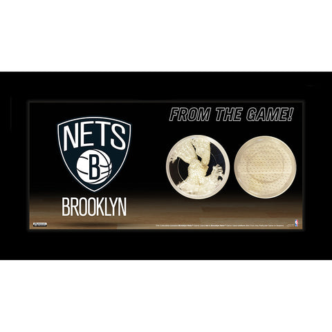 Brooklyn Nets Logo w Net and Uniform Capsule 4x8 Framed Photo - Steiner Sports - Dropship Direct Wholesale