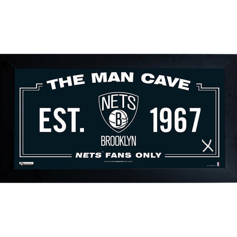 Brooklyn Nets Man Cave Sign 6x12 Framed Photo w Game used Net - Steiner Sports - Dropship Direct Wholesale
